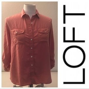 LOFT coral long sleeve button down top Sz small